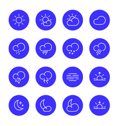 weather icons meteorology simple line symbols vector image