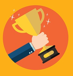 with flat trophy and hand First place and business vector image