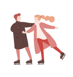 young man and woman holding hands and ice skating vector image