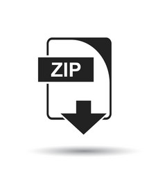 Zip icon flat zip download sign symbol with vector