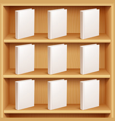 bookshelf and books with blank covers vector image vector image