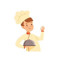chef cook character with cloche boy in the vector image