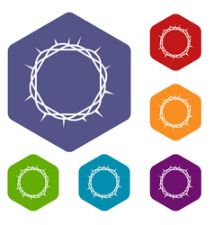 crown of thorns icons set hexagon vector image