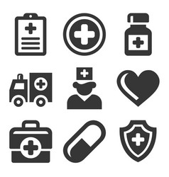 health care medical icons set vector image