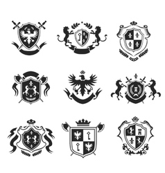 Heraldic coat of arms decorative emblems black set vector image vector image