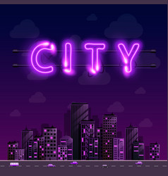 neon night city background cover retro vector image vector image