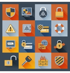 Security icons set flat vector image