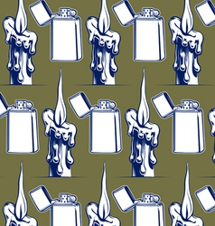 wax candle iron lighter background vector image vector image