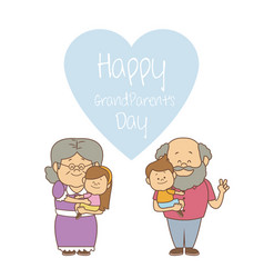 White background with elderly couple with kids vector