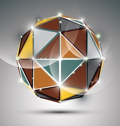 Abstract 3D metal festive sphere with sparkles vector image