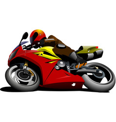 motorcycle on the road biker vector image vector image