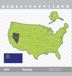Nevada flag and map vector