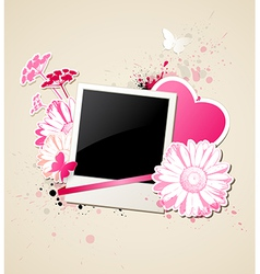 photo and flowers for Valentines day vector image vector image