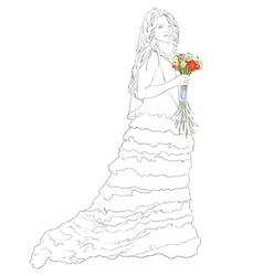 bride with bouquet sketch vector image