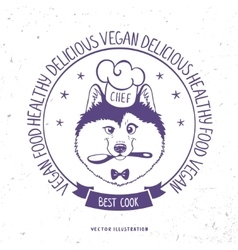 Husky cook in frame vector image vector image