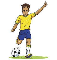 soccer football player young man kicking in vector image vector image