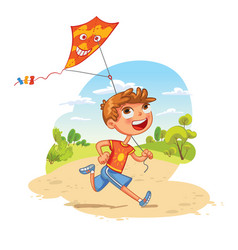 boy plays with a kite in the park vector image vector image