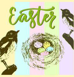 easter card with bird nest and colorful eggs vector image