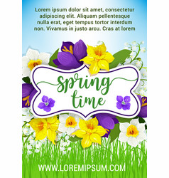 Hello spring flowers floral poster vector