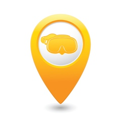 mask symbol on yellow map pointer vector image vector image