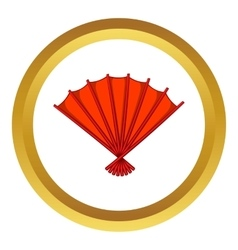 Red open hand fan icon vector