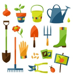 Set of garden design elements and icons vector image
