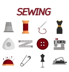 Sewing flat icon set vector image
