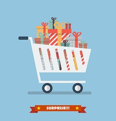 Shopping cart with piles of presents vector image vector image