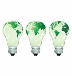 three electric bulbs with maps vector image vector image