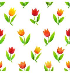 watercolor tulips pattern vector image vector image