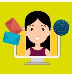 woman laptop global message vector image