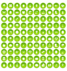 100 garden icons set green circle vector