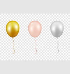 3d realistic metallic golden pink white vector image