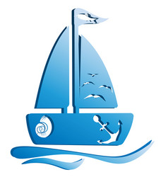 A boat with waves vector
