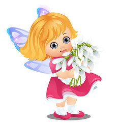a little happy animated girl with fairy wings vector image