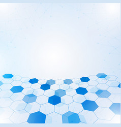 abstract hexagon with lines and points background vector image