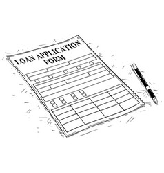 Artistic drawing of loan application form vector