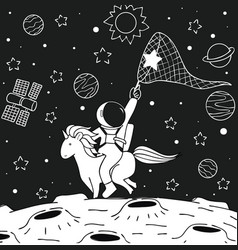 astronaut ride unicorn vector image