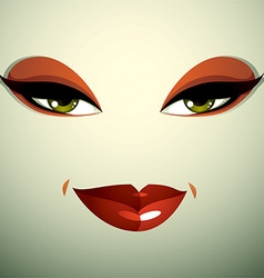 Attractive woman with stylish bright make-up Sexy vector