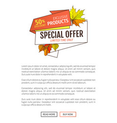 autumn fall half price advertising poster foliage vector image