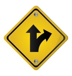 Bifurcation traffic sign icon vector