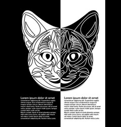 black and white cat head in inverse leaflet vector image