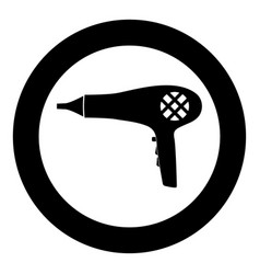 blow dryer hair dryer icon black color in circle vector image