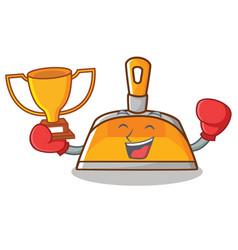 Boxing winner dustpan character cartoon style vector