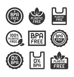 bpa plastic free icons set on white background vector image
