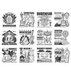 Buddhism religion yoga buddha meditation icons vector