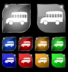 Bus icon sign Set of ten colorful buttons with vector image
