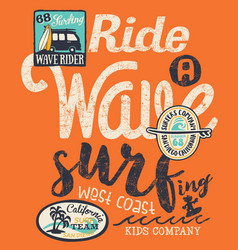 california wave rider surfing kid vector image