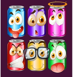 Can with facial expressions vector