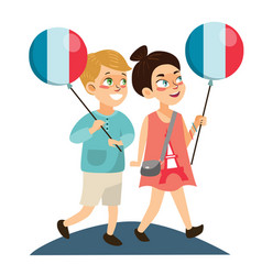 Children boy and girl on national holiday france vector